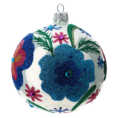 Multicoloured glass Christmas ball with white base 100 mm 2