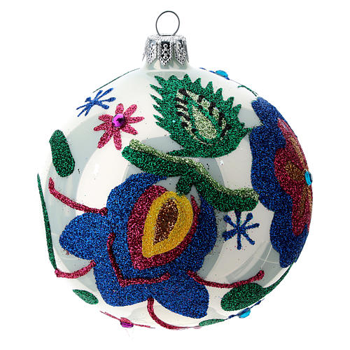 Multicoloured glass Christmas ball with white base 100 mm 3