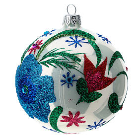 Multicoloured glass Christmas ball with white base 100 mm s4