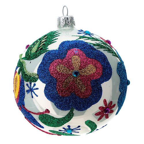 Multicoloured glass Christmas ball with white base 100 mm 1