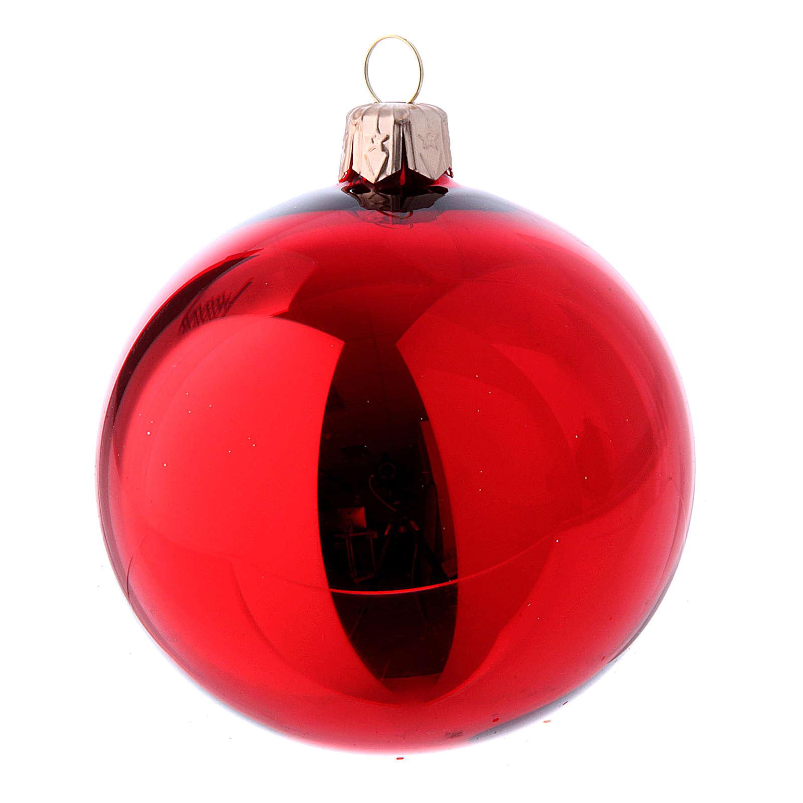 Bolas de vidrio Navidad caja 9 piezas rojo y oro 80 mm 4