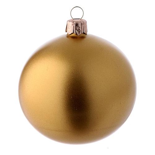 Bolas de vidrio Navidad caja 9 piezas rojo y oro 80 mm 2