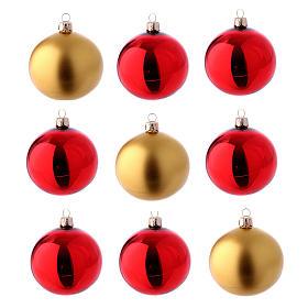 Boîte 9 boules en verre 80 mm rouge et or s1