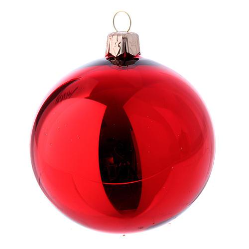 Boîte 9 boules en verre 80 mm rouge et or 3