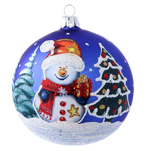 Blown glass Christmas ball with snowman 100 mm 1