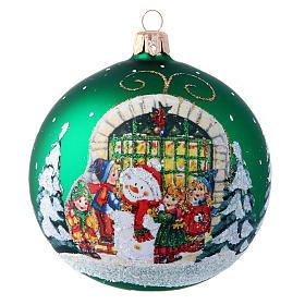 Tannenbaumkugeln: Weihnachtsbaumkugel aus mundgeblasenem Glas Motiv Schneemann und Kinder 100 mm