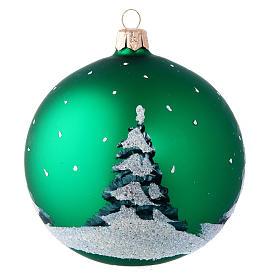 Weihnachtsbaumkugel aus mundgeblasenem Glas Motiv Schneemann und Kinder 100 mm s2