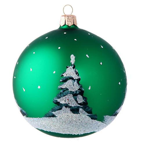 Weihnachtsbaumkugel aus mundgeblasenem Glas Motiv Schneemann und Kinder 100 mm 2