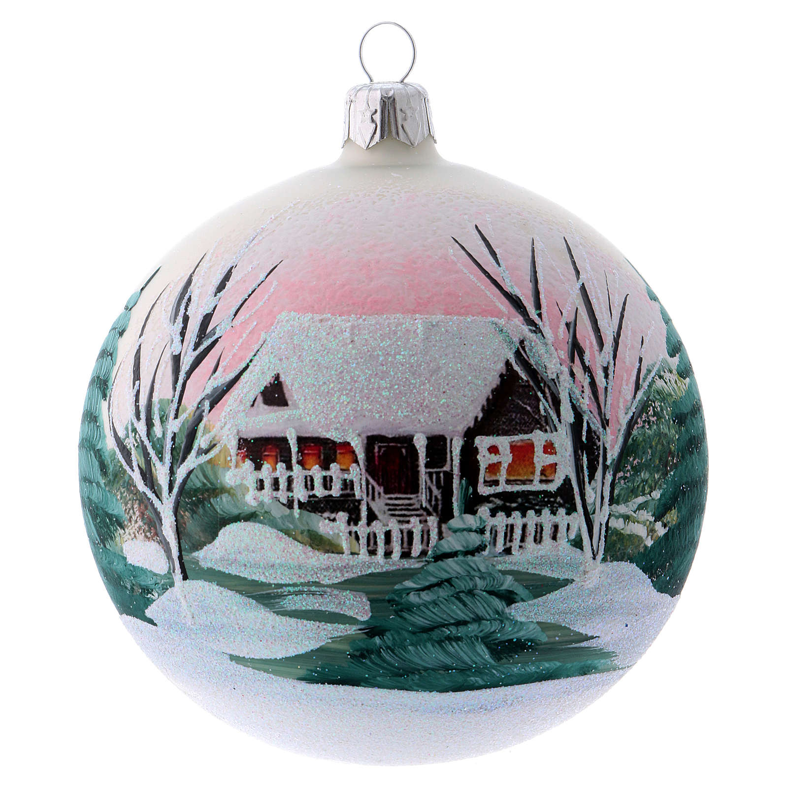 Bola para Árbol de Navidad 100 mm blanco imagen decoupage 4