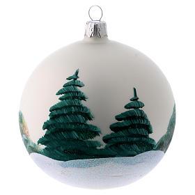 Bola para Árbol de Navidad 100 mm blanco imagen decoupage s3