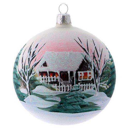 Bola para Árbol de Navidad 100 mm blanco imagen decoupage 1