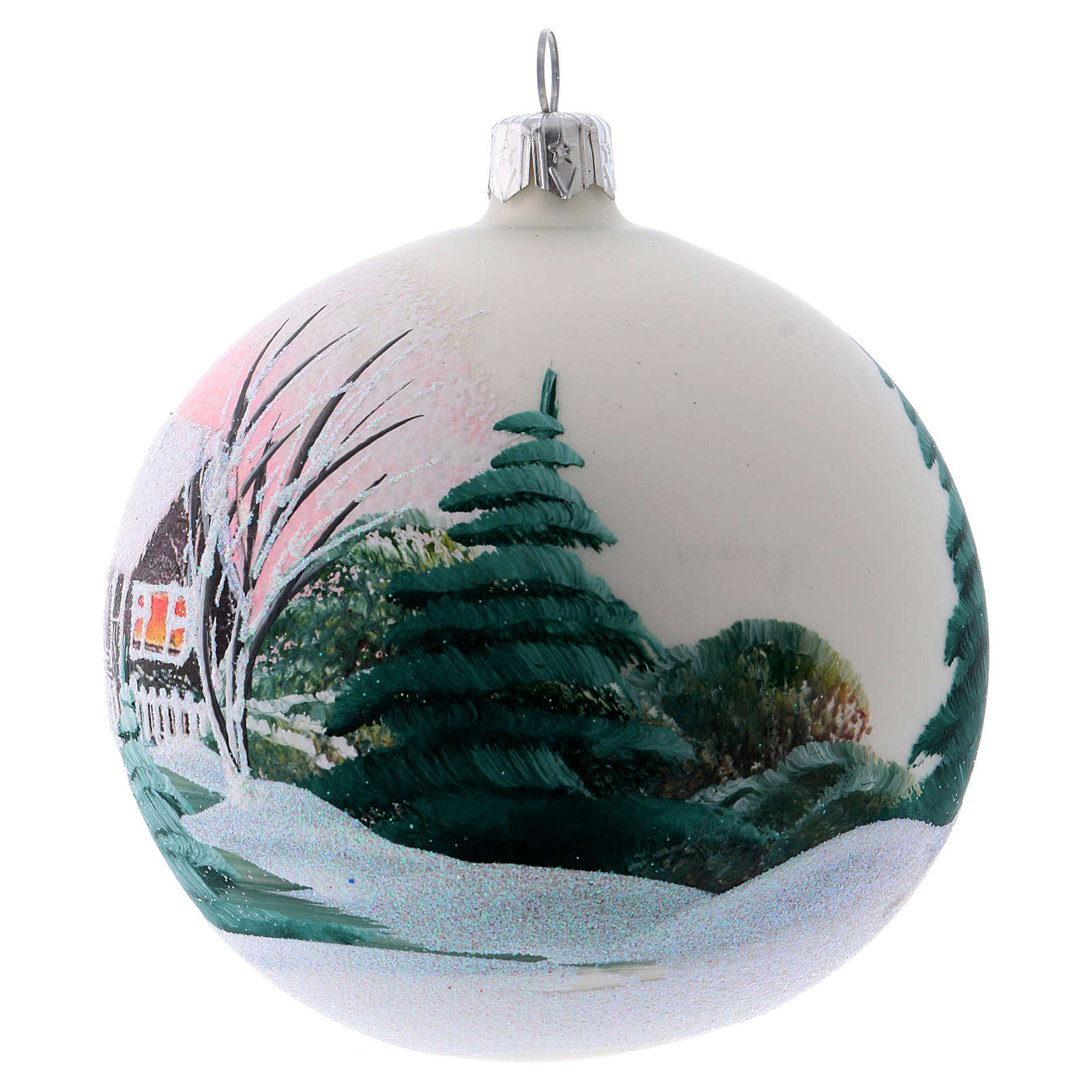 Bola vidro árvore 100 mm branco imagem decoupagem 4