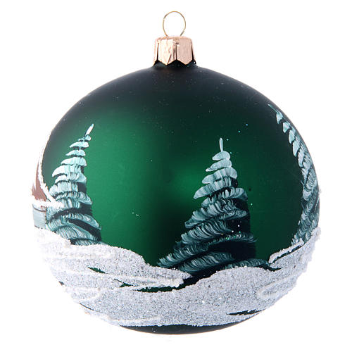 Green christmas tree ball with houses 100 mm 2