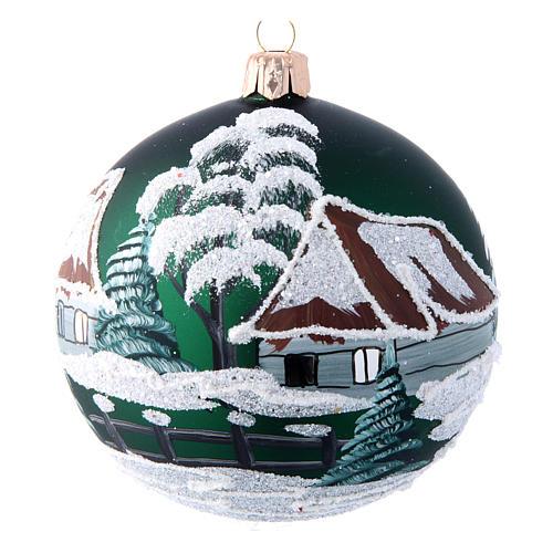 Pallina Albero di Natale verde con casette 100 mm 1
