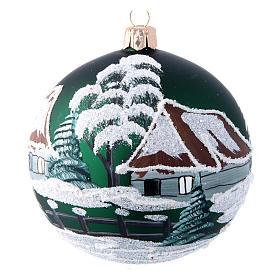 Green christmas tree ball with houses 100 mm s1