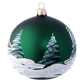 Green christmas tree ball with houses 100 mm s2