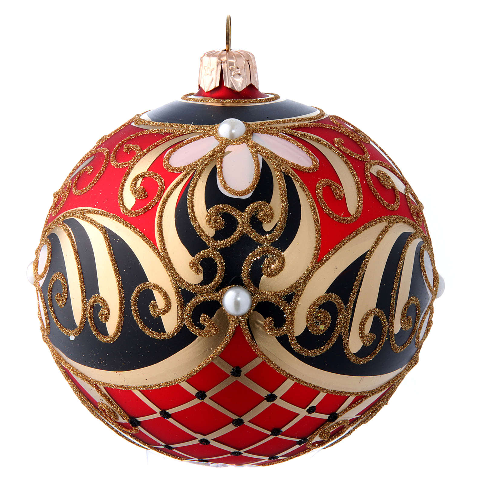 Red gold and black blown glass Christmas ball with flower decoration 100 mm 4