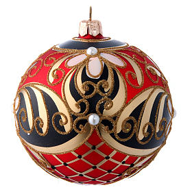 Red gold and black blown glass Christmas ball with flower decoration 100 mm s2