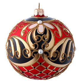 Bola navideña de vidrio soplado con decoración floral 100 mm s2