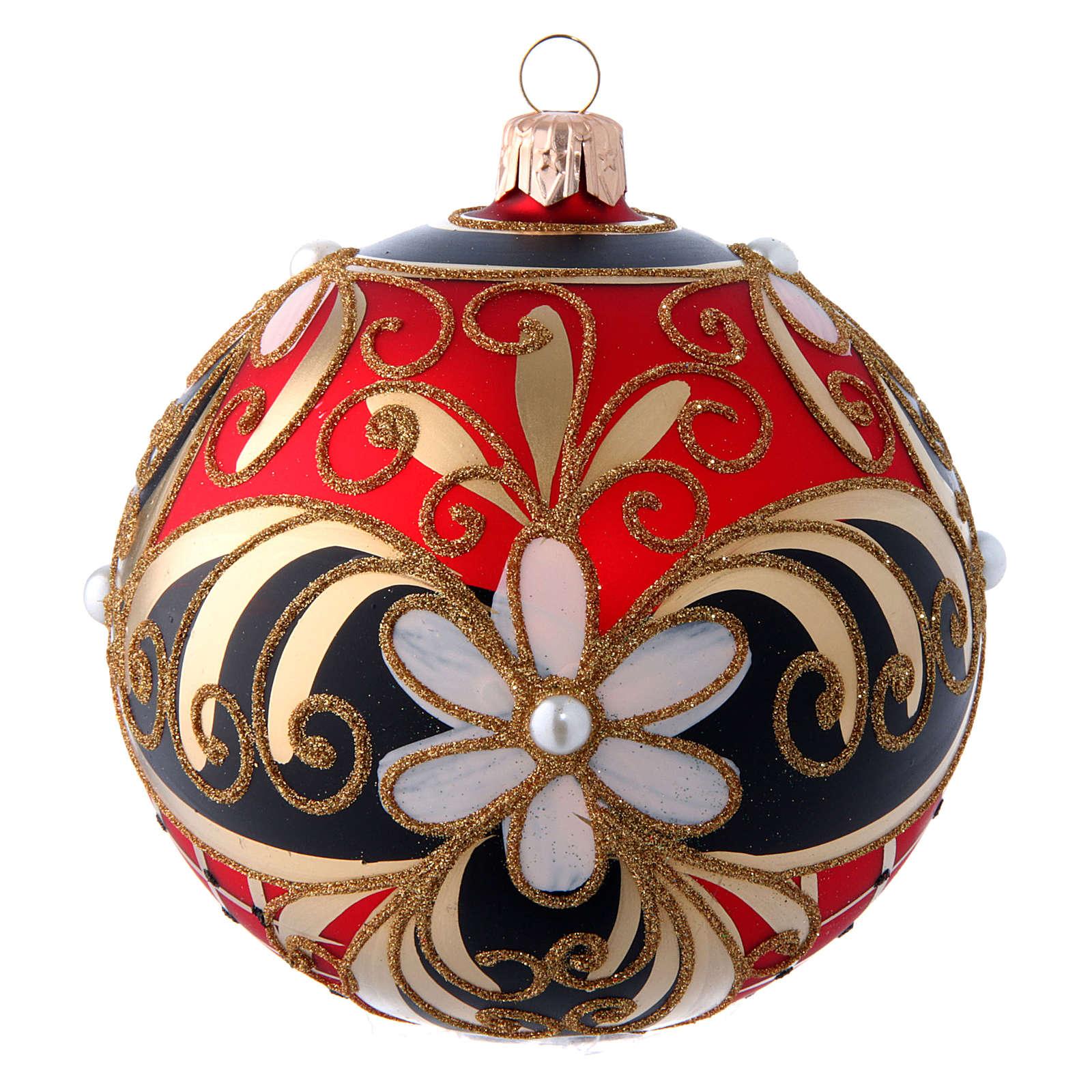 Pallina vetro soffiato decoro floreale rosso nero oro 100 mm 4