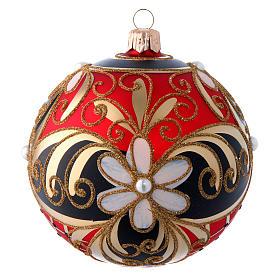 Pallina vetro soffiato decoro floreale rosso nero oro 100 mm s1