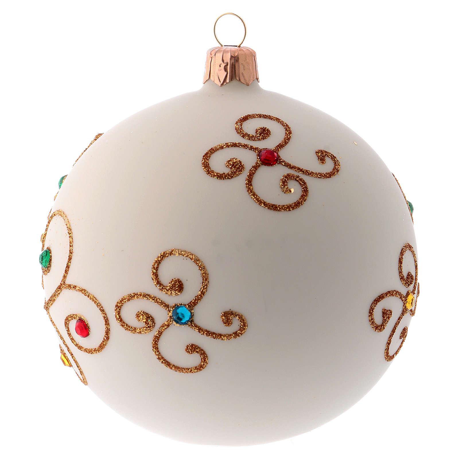 Boule Noël Blanc Mat Avec Décor Doré 100 Mm Vente En Ligne Sur Holyart
