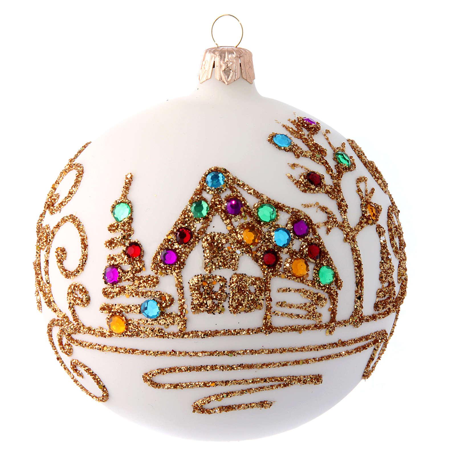 Pallina Natale bianco opaco con decoro dorato 100 mm 4