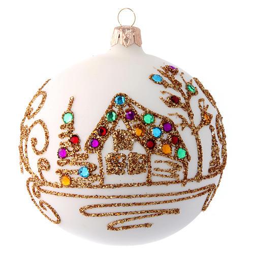 Pallina Natale bianco opaco con decoro dorato 100 mm 1