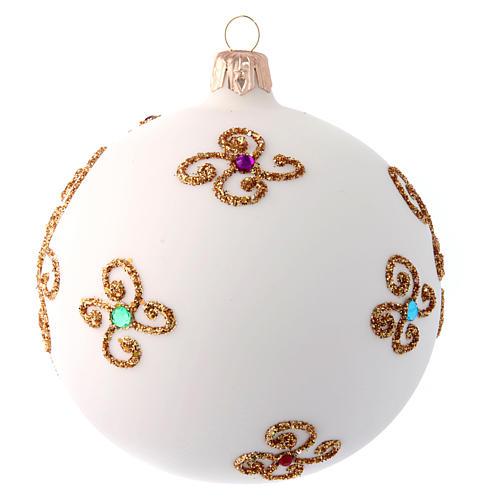 Pallina Natale bianco opaco con decoro dorato 100 mm 2