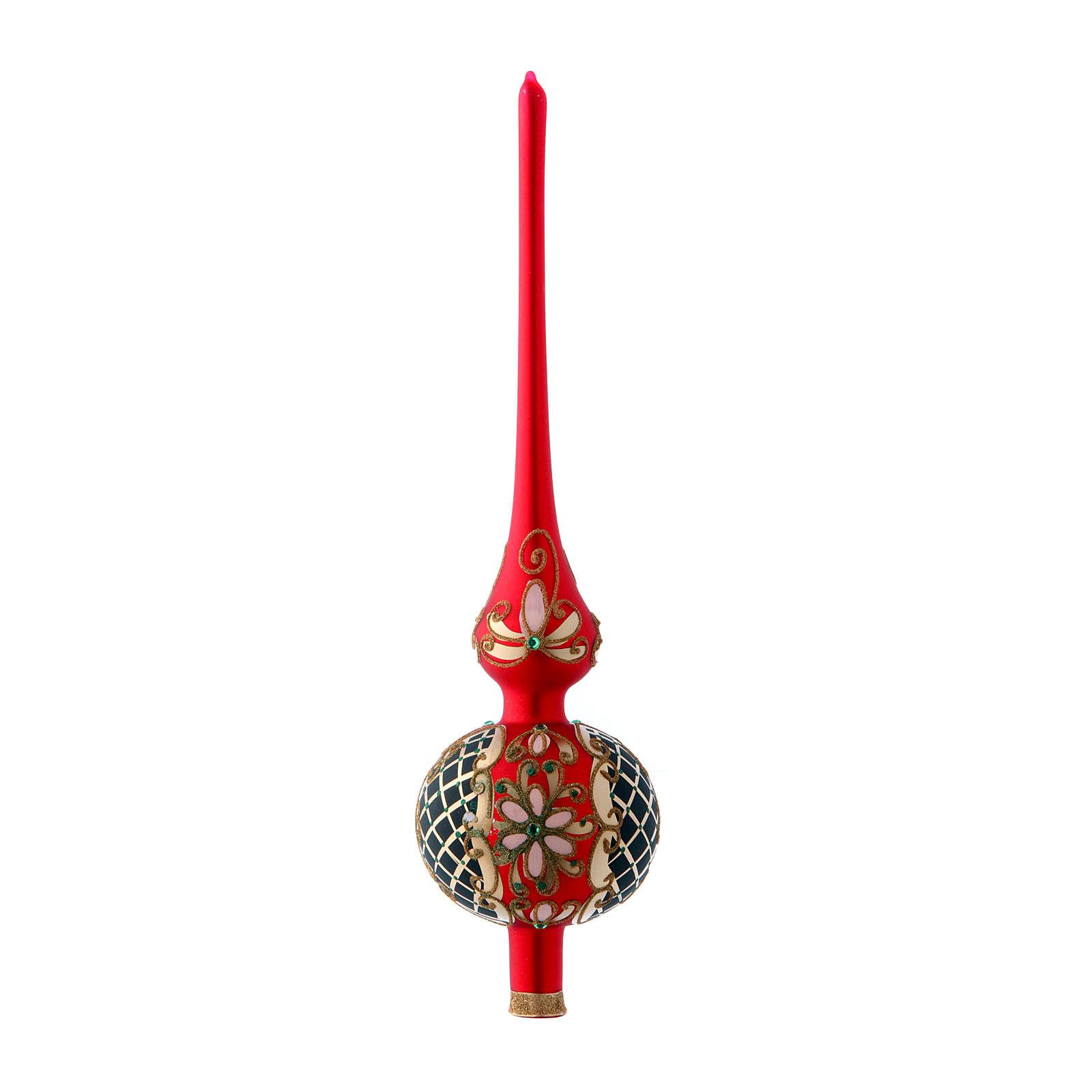 Puntale Albero vetro rosso e nero satinato fiori 4