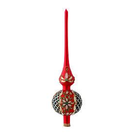 Puntale Albero vetro rosso e nero satinato fiori s1