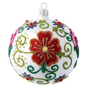 Weihnachtskugel aus Glas Grundton Weiß glänzend mit vielfarbigen floralen Verzierungen 100 mm s1