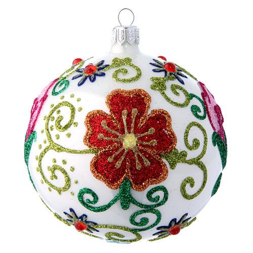 Weihnachtskugel aus Glas Grundton Weiß glänzend mit vielfarbigen floralen Verzierungen 100 mm 1
