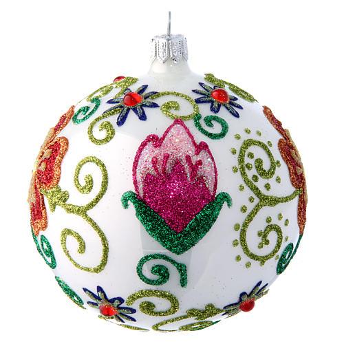 Weihnachtskugel aus Glas Grundton Weiß glänzend mit vielfarbigen floralen Verzierungen 100 mm 2