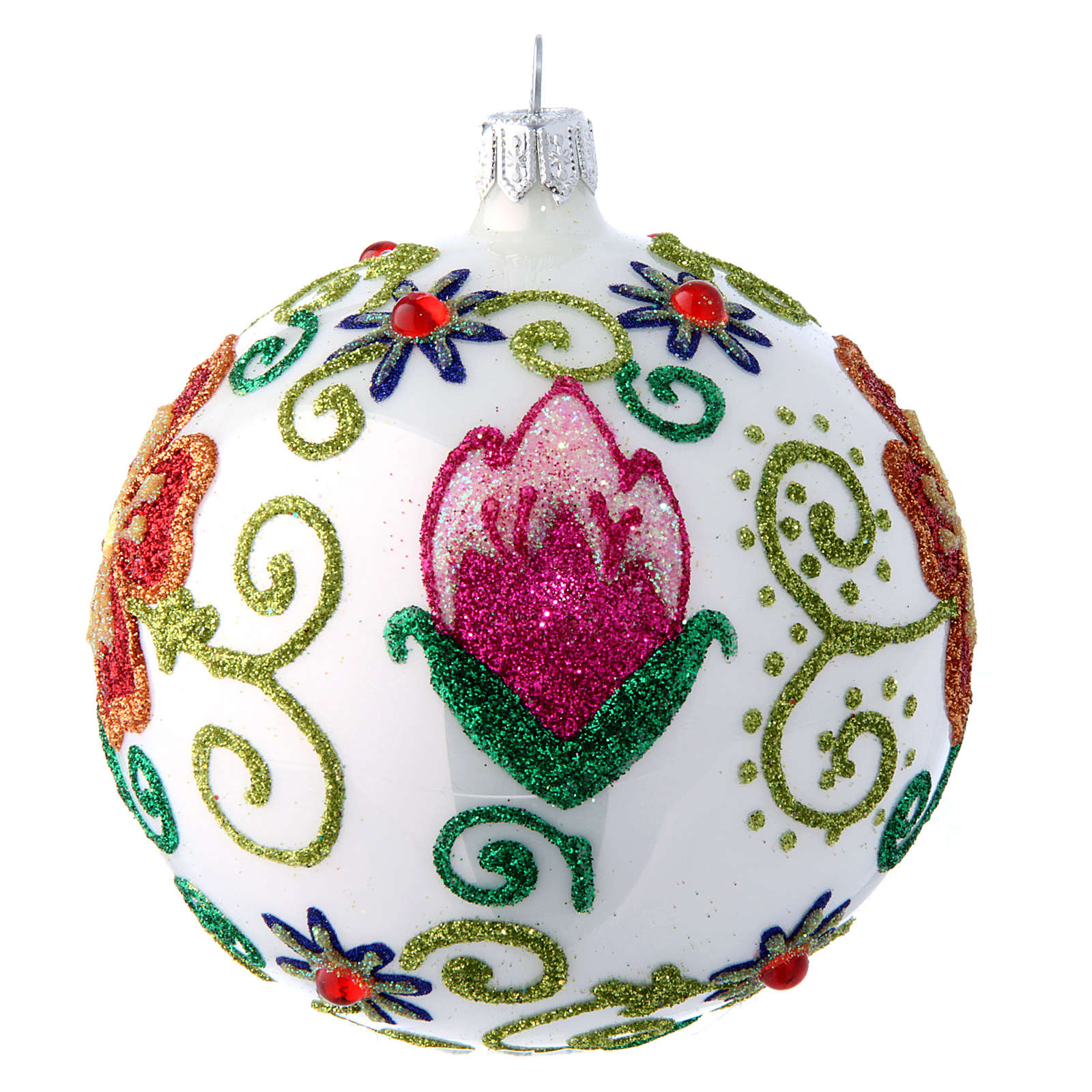 Shiny white christmas tree ball with multicoloured flower decorations 100 mm 4