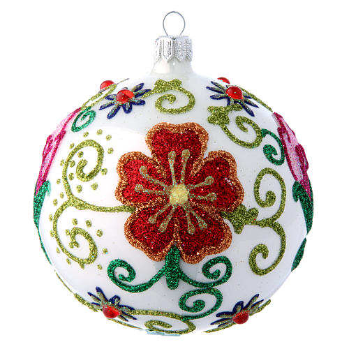 Shiny white blown glass Christmas ball with multicolored flower decorations 10 cm 1