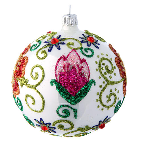 Shiny white blown glass Christmas ball with multicolored flower decorations 10 cm 2