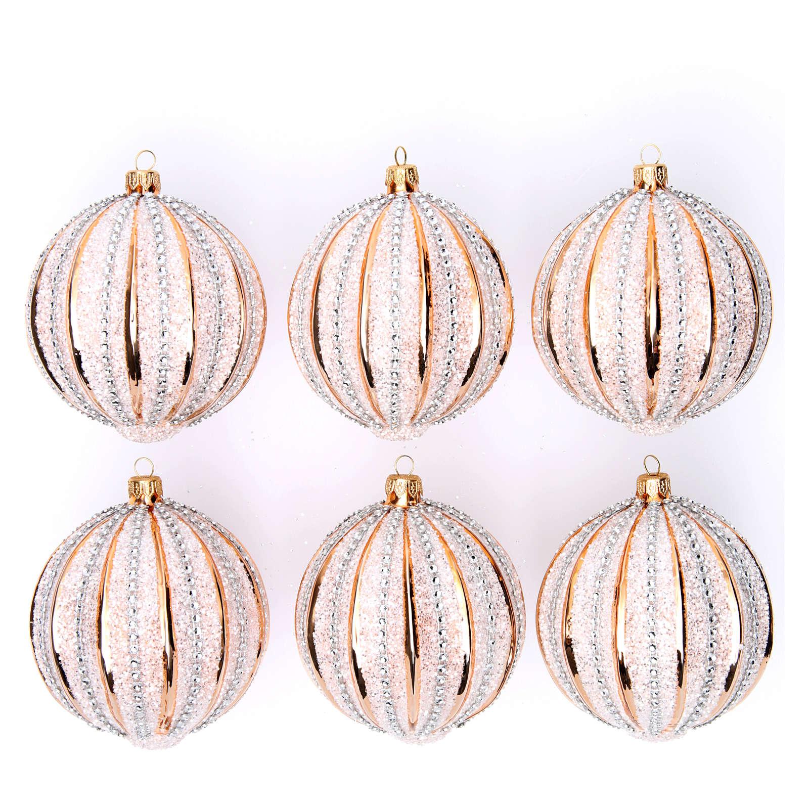Bolas de vidrio Árbol de Navidad oro y purpurina 100 mm 6 piezas 4