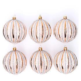 Bolas de vidrio Árbol de Navidad oro y purpurina 100 mm 6 piezas s1
