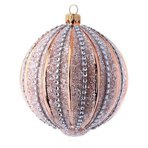 Bolas de vidrio Árbol de Navidad oro y purpurina 100 mm 6 piezas 2