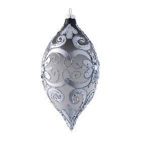 Pallina natalizia goccia argento e bianco h. 20 cm s2