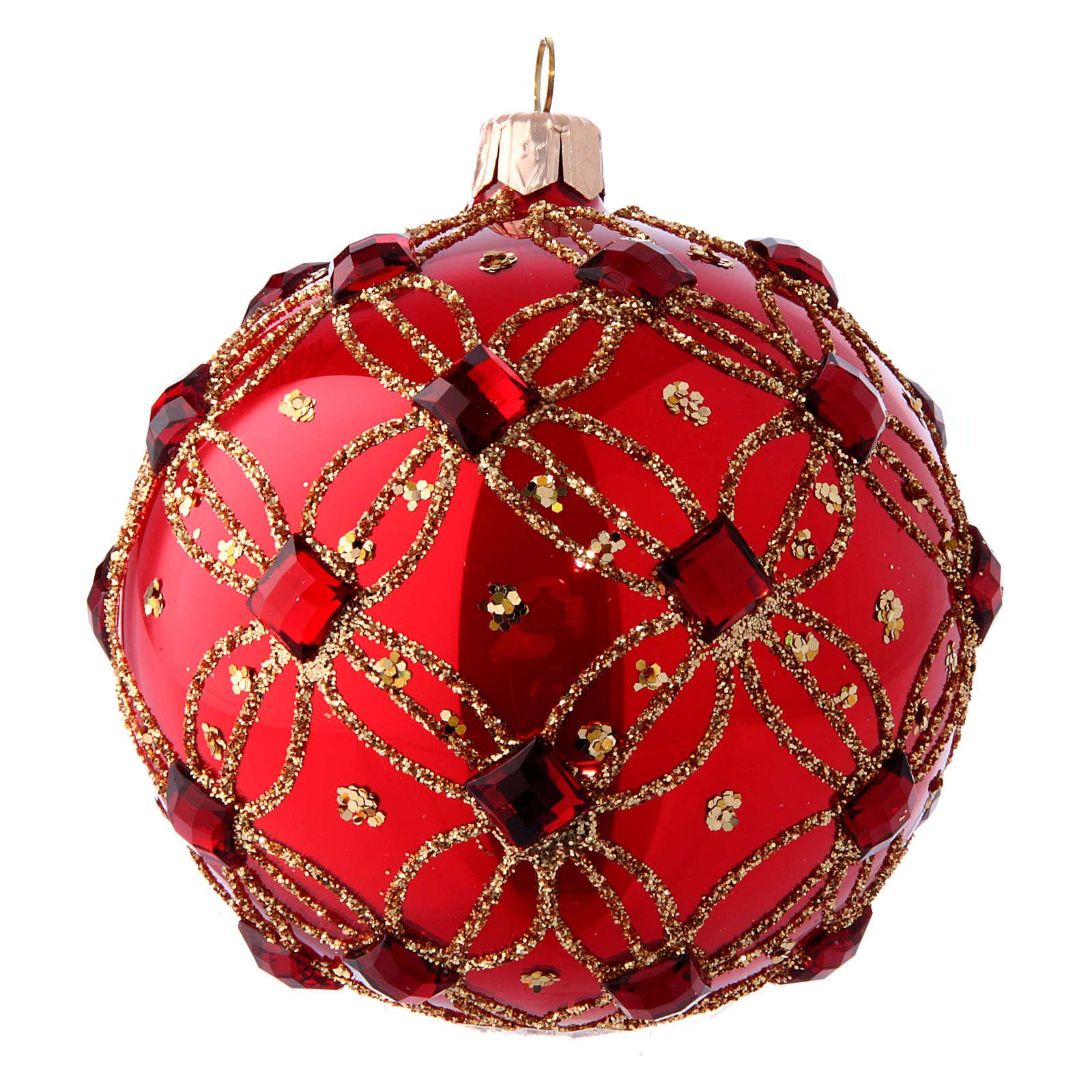 Bola Árbol de Navidad rojo lustros y piedras rojas 100 mm 4