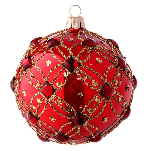 Bola Árbol de Navidad rojo lustros y piedras rojas 100 mm 1