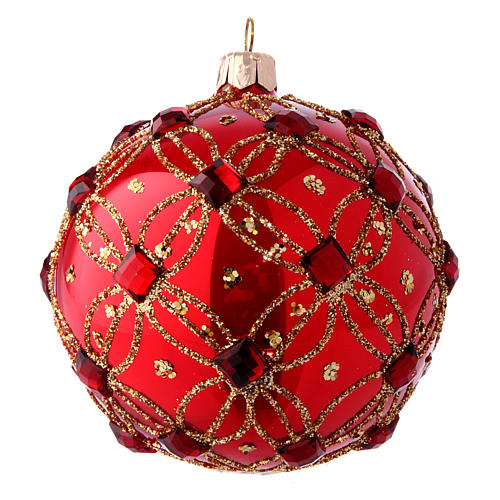 Bola Árbol de Navidad rojo lustros y piedras rojas 100 mm 2