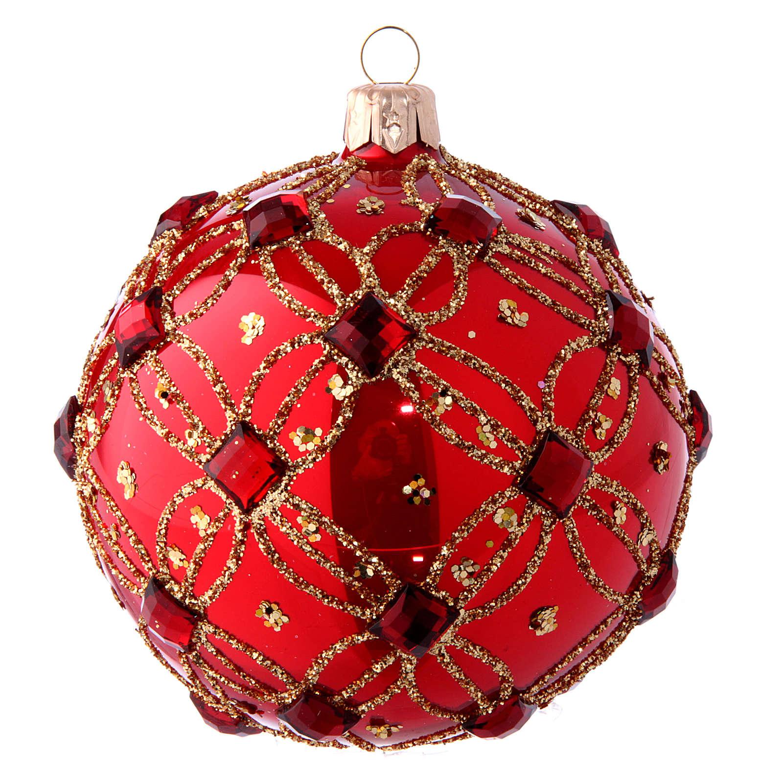 Pallina natalizia rosso lucido e pietre rosse 100 mm 4