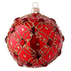 Pallina natalizia rosso lucido e pietre rosse 100 mm s1