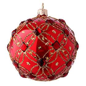 Pallina natalizia rosso lucido e pietre rosse 100 mm s2