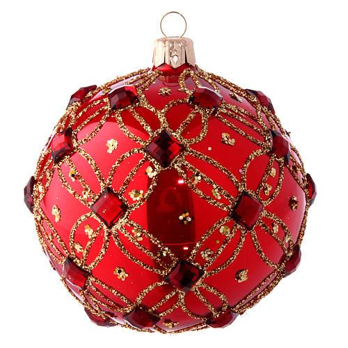 Pallina natalizia rosso lucido e pietre rosse 100 mm 1