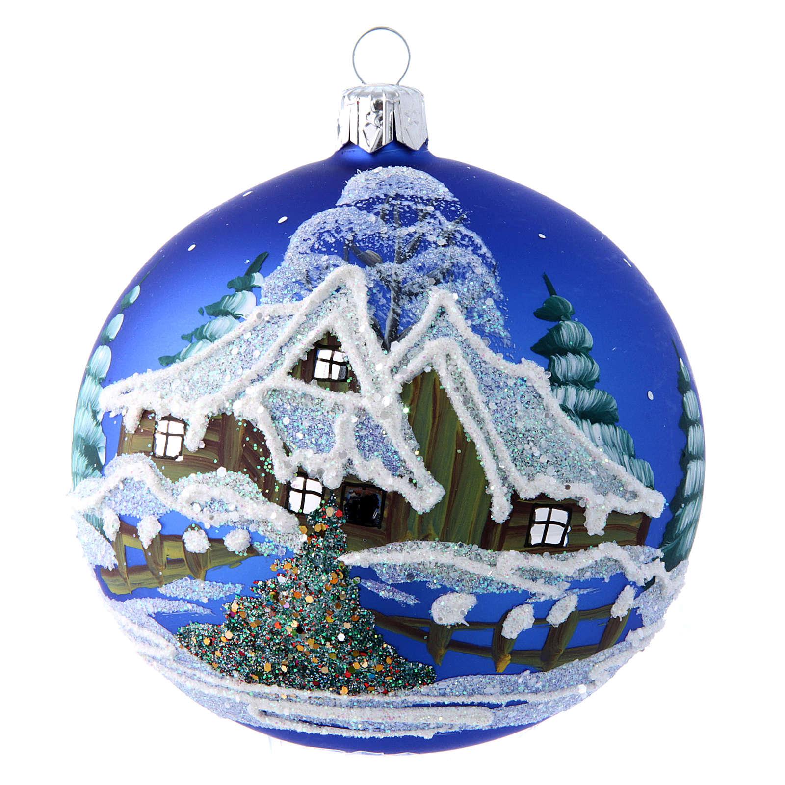 Pallina blu paesaggio notturno con neve 100 mm 4