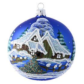 Pallina blu paesaggio notturno con neve 100 mm s1